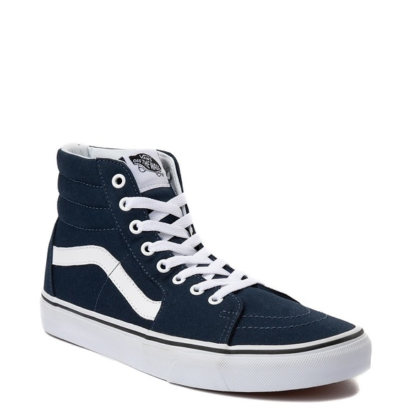 Navy Blue And White High Top Vans Clearance Sale, UP TO 68% OFF